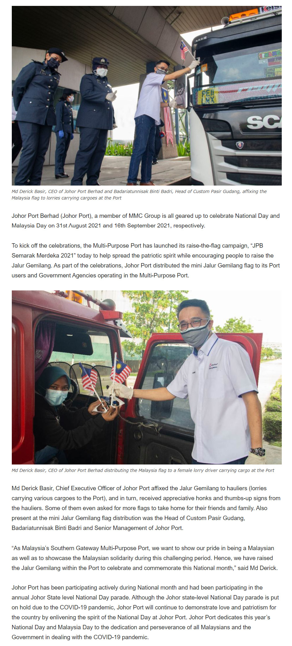 Johor Port Demonstrates Patriotism and Love for the Country