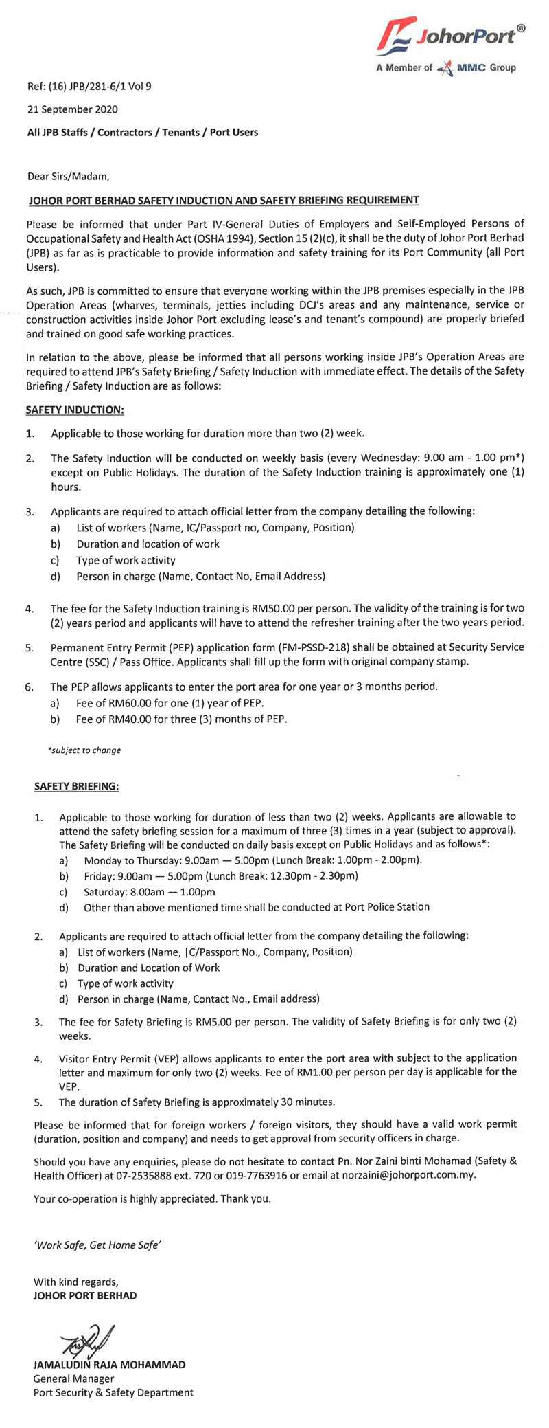 Johor Port Berhad Safety Induction and Briefing Requirement